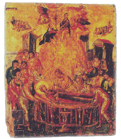 [El Greco: 'Η Κοίμηση της Θεοτόκου', περ. 1567 (Ερμούπολη, ναός της Κοίμησης της Θεοτόκου)Ο Greco διατηρεί με 'πείσμονα εγωισμό' τη μητρική του γλώσσα και υπογράφει πάντοτε τα έργα του στα ελληνικά: 'Δομήνικος Θεοτοκόπουλος (Κρης) εποίει'.]
