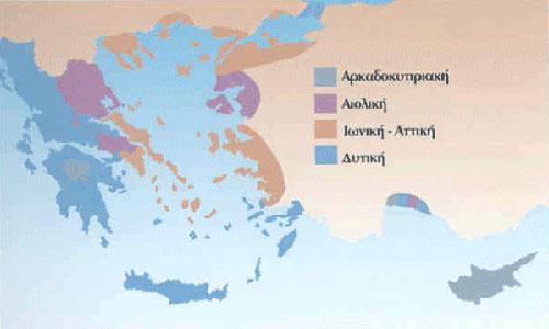 [Χάρτης με την κατανομή των τεσσάρων διαλεκτικών ομάδων κατά την ιστορική περίοδο.]
