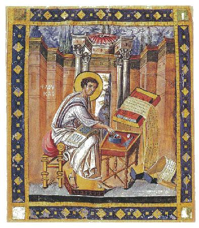 [Υλικά γραφής: Τα σύνεργα της γραφής. Ο Ευαγγελιστής Λουκάς με όλα τα σύνεργα της γραφικής. Ολοσέλιδη μικρογραφία από τον περγαμηνό κώδικα 56, φ. 154ν (Αθήνα, Εθνική Βιβλιοθήκη, μέσα 10ου αι.).]