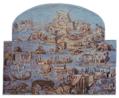 [Το τεράστιο ψηφιδωτό της Πραινέστου με τοπία από τον Νείλο (80 μ.χ.). Το 'βασίλειο' της καθαυτό Κοινής κατά την ελληνιστική εποχή εκτεινόταν στη Μ. Ασία, τη Συρία και την Αίγυπτο, το 'δώρο του Νείλου'. Το ξηρό κλίμα και το αμμώδες έδαφος της Αιγύπτου διαφύλαξαν ώς σήμερα χιλιάδες παπύρους με κείμενα ιδίως της γραφειοκρατικής και δημώδους Κοινής.]