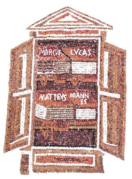 [Κώδικες των τεσσάρων Ευαγγελιστών σε ένα ερμάριο. Ψηφιδωτό, 5ος αι. (Ραβένα, Μαυσωλείο της Galla Placidia).]