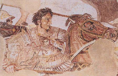 [Ο Μέγας Αλέξανδρος στη μάχη της Ισσού, από το ψηφιδωτό που κοσμούσε την 'Οικία του Φαύνου' στην Πομπηΐα (Νάπολη, Εθνικό Μουσείο).]